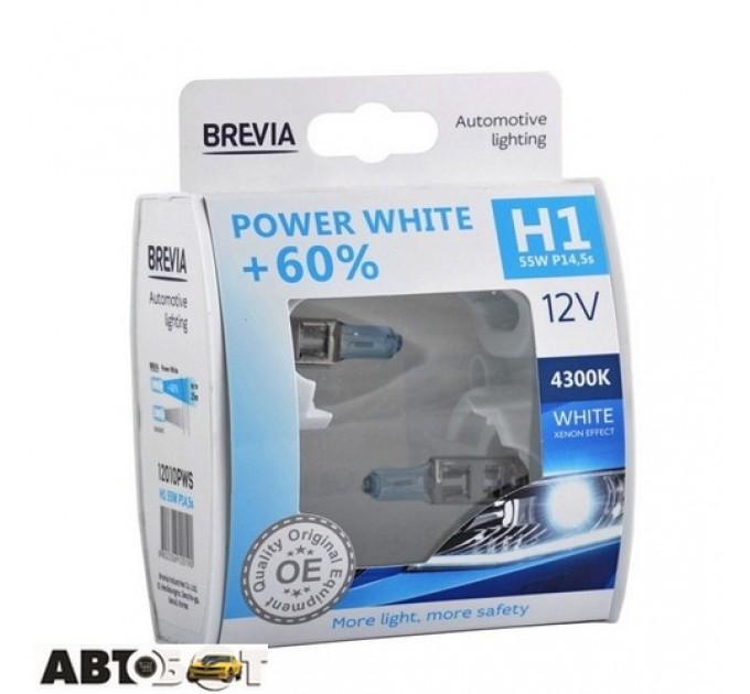 Галогенная лампа BREVIA Power White +60% H1 12V 55W 4300K 12010PWS (2 шт.)