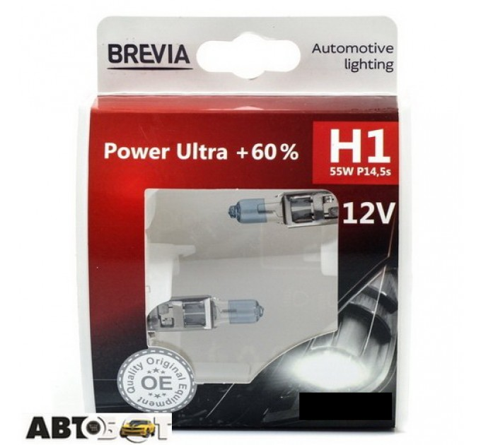 Галогенная лампа BREVIA Power Ultra +60% H1 12010PUS (2 шт.)