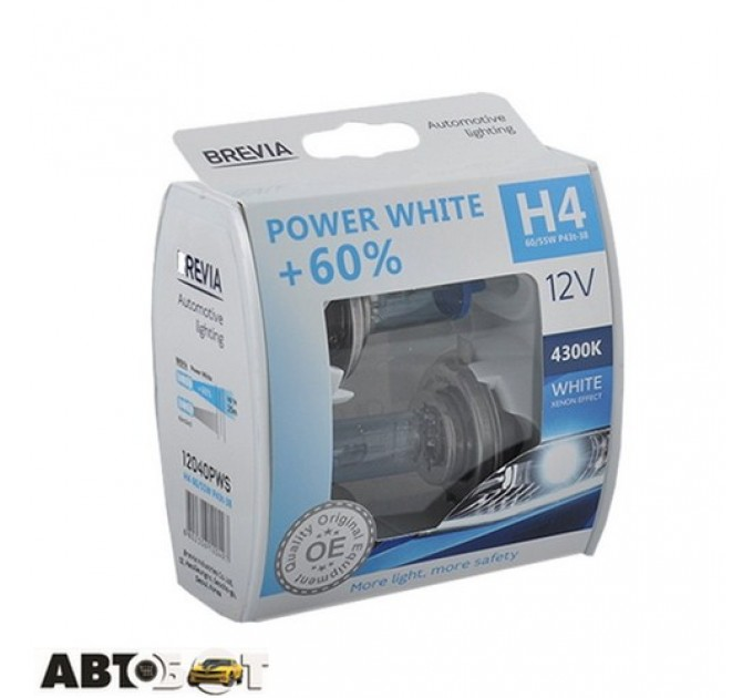 Галогенная лампа BREVIA Power White +60% H4 12V 60/55W 4300K 12040PWS (2 шт.)