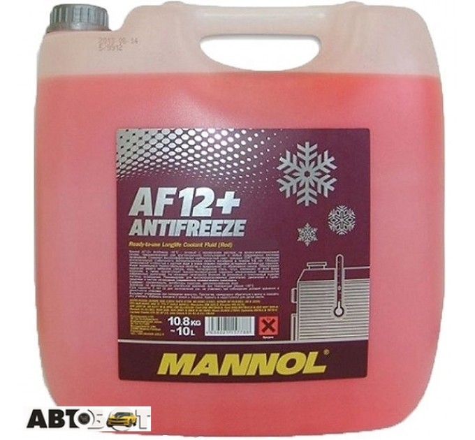 Антифриз MANNOL Antifreeze AF12+ красный -40C 10л