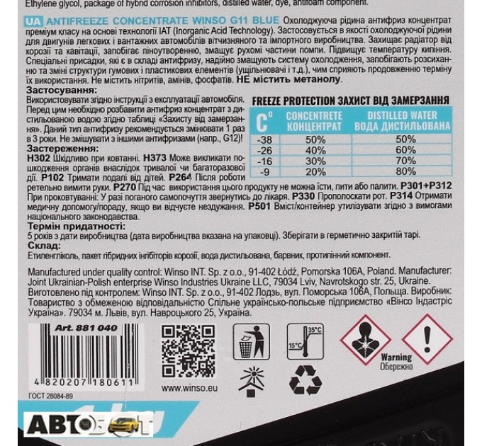 Антифриз Winso ANTIFREEZE & COOLANT CONCENTRATE WINSO BLUE G11 881040 1кг